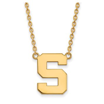 NCAA 10k Yellow Gold Michigan State Large 'S' Pendant Necklace