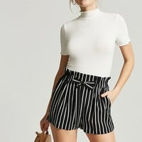 Stripe Paperbag-Waist Shorts