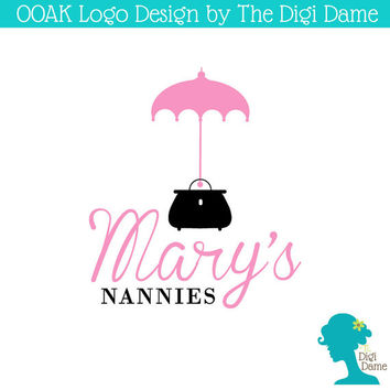 OOAK Premade Logo Design: Nannies Umbrella and Bag in Pink & Black