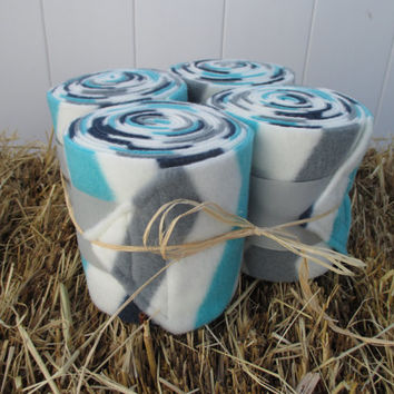 Set of 4 Polo Wraps for Horses- Ivory, Blue, Turquoise, and Grey Chevron Stripe Print Fleece