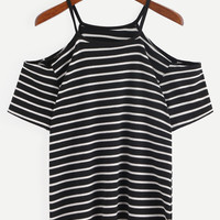 Cold Shoulder Black White Striped T-shirt