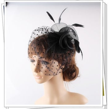 Multiple color avaliable crinoline fascinator headwear 3 roses with bridal veil adorned party and wedding hair accessories