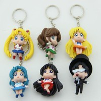 Sailor Moon Mercury Jupiter Venus Key Chains 6pcs/set