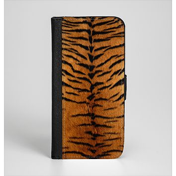 The Real Tiger Print Texture Ink-Fuzed Leather Folding Wallet Case for the iPhone 6/6s, 6/6s Plus, 5/5s and 5c