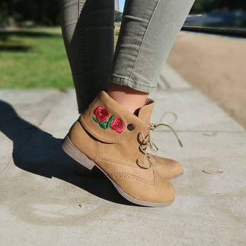 Women's Camel Color Lace Up Boot with Flower Embroidery