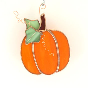 Stained Glass Pumpkin Suncatcher - Fall Decor - Handmade