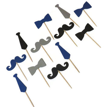 Bow tie cupcake toppers, neckties, mustaches, mens birthday party, dads, bachelor party, little man baby shower decorations