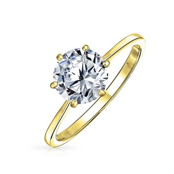 3CT AAA CZ Solitaire Engagement Ring 14K Gold Plated Sterling Silver