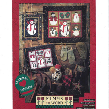 Snowman Samplers Pattern, Mumm's the Word, Wall Hangings, Miniature Quilts, Penstitch Applique, 1994, Debbie Mumm, Vintage Pattern, UNCUT