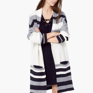 Grey Contrast Striped Open Front Long Cardigan