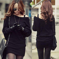 New Korean Womens Solid Black Mini Sweater Dress Long Tops Sexy Boat Neck 4863
