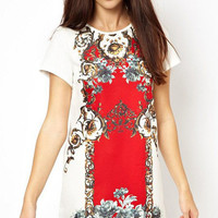 White Floral Printed Short Sleeve Dress