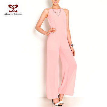 Fashion Women Jumpsuit Sleeveless Hollow Out Backless Elegant Chiffon Sexy Jumpsuit Slim Regular Long Jumpsuits Summer NC-222