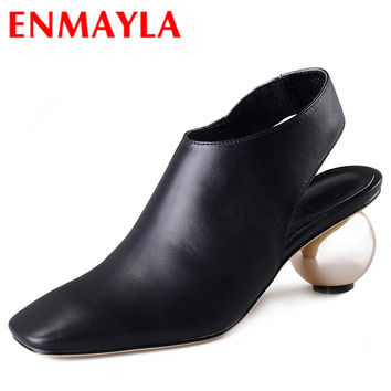 ENMAYLA Abnormal High Heels Shoes Woman Square Toe Pumps Women Summer Shoes Women Black Ankle Boots Fashion Pumps