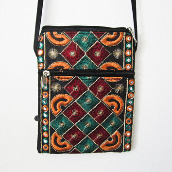 Vintage Indian handcrafted embroidery patch work mirror work, Indian cotton stain dye shoulder jhola, purse bag 002