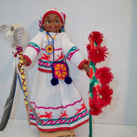 Vintage Mexican Doll Huichol Indian Nayarit Mexico Ojo De Dios Folk Art