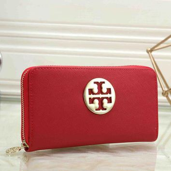 Tory Burch Women Fashion New Personality Leather Women Bag Wallet Red