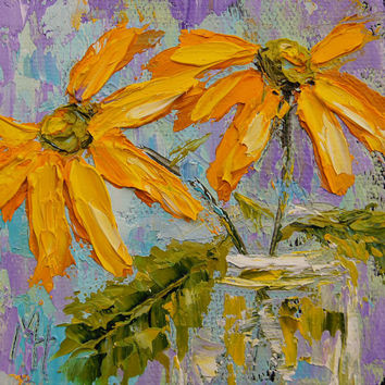 Impressionist floral painting - Yellow Daisies by Marion Hedger, flower girl gift, Daisy painting, palette knife oil painting 4x4 inch