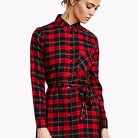 Red Plaid Pointed Flat Collar Long Sleeve Mini Dress
