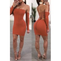 Women Simple Fashion Hollow Bandage Backless Long Sleeve Off Shoulder Bodycon Solid Color Strapless Mini Dress