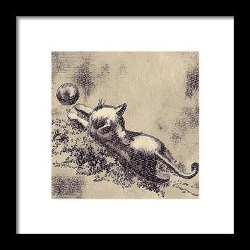 Kitten Playing With Ball - Framed Print