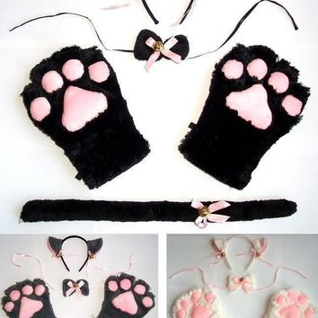 Cat Fox Ears Tail Paws Collar Cosplay Anime Neko Costume Plush Claws Gloves Tie