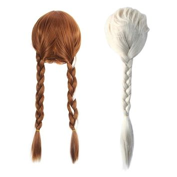 Anna Elsa Wig for Girls Cartoon Dress up Party Accessories Children Rayon Braid Headwear Kids Holloween Supply Princess Hair Wig