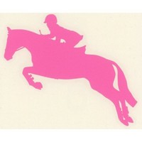 English Equestrian Hunter Jumper Horse Decal-Med Pink Left Facing