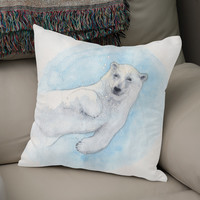 «Polar bear underwater», Numbered Edition Coussin by Savousepate - From 25€ - Curioos