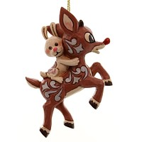 Jim Shore RUDOLPH AND BUNNY FLYING Polyresin Resin Ornament