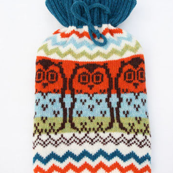 Knitted Owl Fairisle Hot Water Bottle Cozy/Cosy