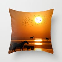 Horses Silhouette Throw Pillow by Haroulita