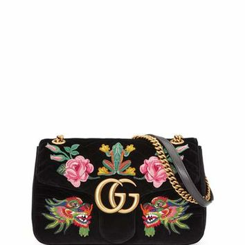 Gucci 110th Anniversary GG Marmont Small Dragon Velvet Shoulder Bag