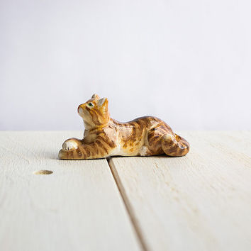 Tiger Tabby Cat Totem, animal totems, tiny cat figurine, pocket zoo, brown and white home decor, gift idea for cat lovers