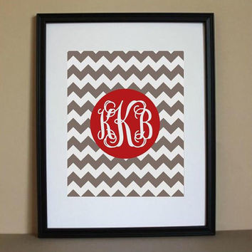 Personalized Alabama Chevron Monogram 8x10 Art Print