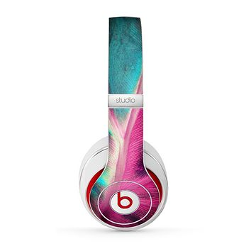 The Neon Pink & Green Leaf Skin for the Beats by Dre Studio (2013+ Version) Headphones