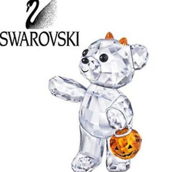 Swarovski Crystal Figurine Kris Bear with pumpkin HALLOWEEN 2011 #1096026 Box