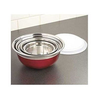Mixing Bowl Set Stainless Steel Red Nesting Storage 10 Piece Lids Food Bake NEW