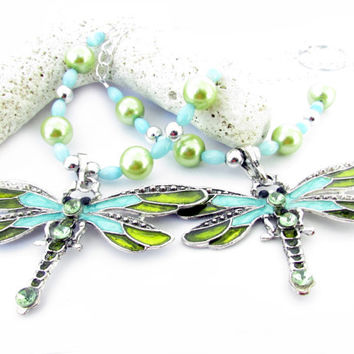 Dragonfly Tiebacks, Curtain Tiebacks, Blue Curtain Tiebacks, Beaded Tiebacks, Shabby Chic Tiebacks, Drapery Tiebacks
