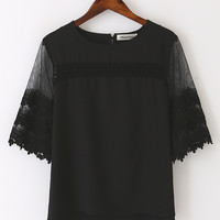 Black Lace Sleeve Blouse