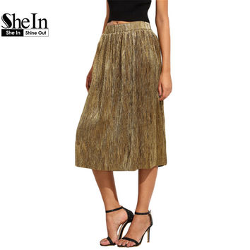 SheIn Fashion Skirts For Women New Arrival Autumn Long Skirts Style Ladies Golden Loose Elegant Pleated Midi Skirt