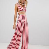 PrettyLittleThing Stripe Cropped Beach Top at asos.com