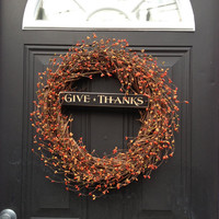 Fall Wreath, Pip Berry Give Thanks Wreath
