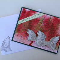 Howling Wolves Father's Day Card, Handmade Notecard, Wildlife And Nature Card for Dad, Happy Father's Day