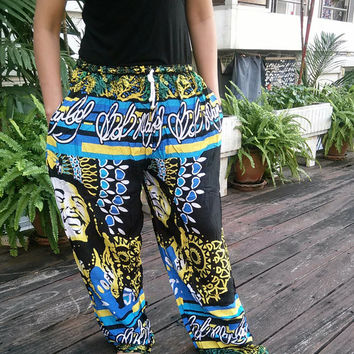 Blue Unisex Reggae Rasta Clothing Rastafari Fashion Print Boho African Bob Marley Pants Hippie Baggy Gypsy Hipster Rastafarian Harem For Men