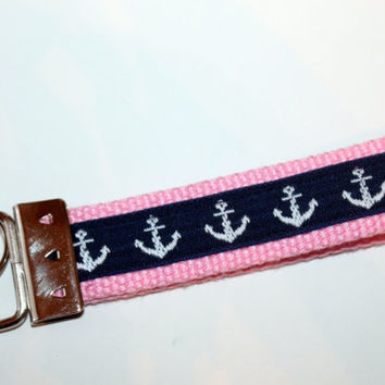 Anchor  Key Fob Key Chain Navy and Pink Nautical Style