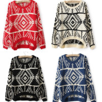 Aztec Geometry Sweater in 4 Colors