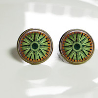 Green Moss Stud Earrings Forest Moss Jewelry Antique Bronze Brown Wood Earrings Green and Brown Jewelry Forest Compass Studs Glass Earrings