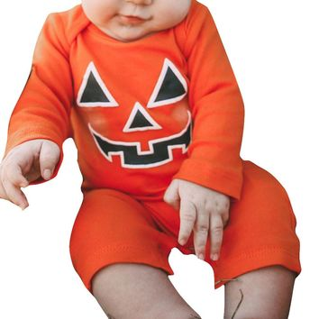 Fashion Orange Infant Kid Baby Girl Boy Full Cotton Halloween Pumpkin Devil Romper Coverall Teddy Leotard