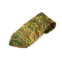 Green and yellow silk tie